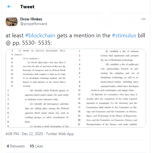 U.S. senators mentioned blockchain in 'stimulus bill'