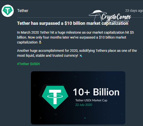 It took three weeks for USDT to add $2B in marketcap
